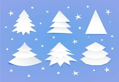 Set of white blank christmas trees. Paper cut style, handmade. Six fir-trees. Vector illustration isolated on blue background Royalty Free Stock Image