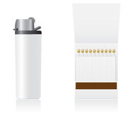 Set of white blank lighter and matches vector illu Royalty Free Stock Photo