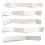 Set of white blank paper vector folded banners isolated on white Stock Photography