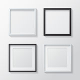 Set of White Blank Picture Frames and Black Blank Picture Frames Stock Photo
