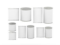 Set of white blank tin cans in various sizes, clipping path incl. Set of blank tin cans in various sizes . General can  packaging  with white blank label  for Royalty Free Stock Photo