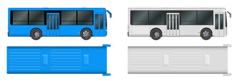 Set white, blue City bus template. Passenger transport. Vector illustration eps 10 isolated Stock Photos