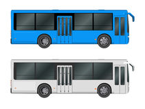 Set white, blue City bus template. Passenger transport. Vector illustration eps 10 isolated Royalty Free Stock Photography