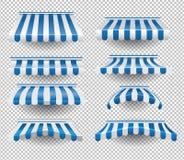 Set of blue awnings stock illustration