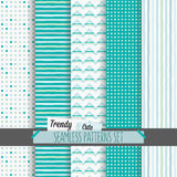 Set of white and blue dotted, stripes and chevron seamless patterns Royalty Free Stock Photos