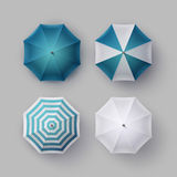 Set of White Blue Striped Opened Rain Umbrella Stock Photos