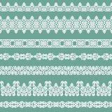 Set of borders. Set of white borders isolated on a green background Royalty Free Stock Images