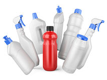 Set of white bottles and one red bottl with detergents Stock Image