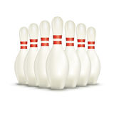 Set of  on White Bowling Pins Royalty Free Stock Photos