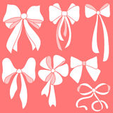 Set of white bows Royalty Free Stock Images