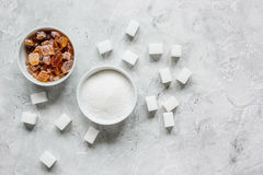 Set of white and brown sugar on stone desk top view Stock Photo