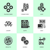 Set of white casino icons. Royalty Free Stock Photography