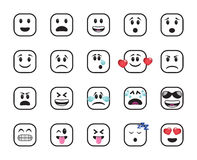 Set of white chamfered square icons Stock Image