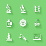 Set of white chemistry icons. Stock Photos