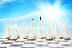 Set of white chess pieces on the chessboard Stock Photography