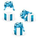 Set of white christmas gift box with blue ornate ribbon,  illustration Stock Photos