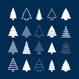 Set of white christmas trees Stock Images