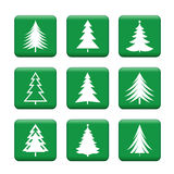 Set of White Christmas Trees. Green Vector Buttons. Stock Photo