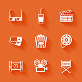 Set of white cinema movie icons. Vector cinema stuff in flat style with shadows Stock Photography