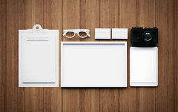 Set of the white classic business elements. 3d Stock Photo