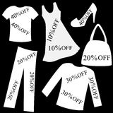 Set of white clothing with sale percent discount over black back Stock Image