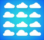 Set of white Cloud icons isolated on background royalty free illustration