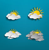 Set of white cloud and sun on blue background Royalty Free Stock Photography