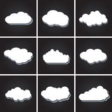 Set of white clouds, speech bubbles vector icons Stock Photo