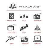 Set of white collar crime icons. Featuring such concepts as fraud, bribery, Ponzi schemes, insider trading, embezzlement, cybercrime, money laundering, identity Stock Photo