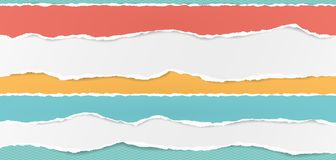 Set of white and colorful horizontal ripped paper strips, torn note paper for text or message on turquoise squared. Background royalty free illustration
