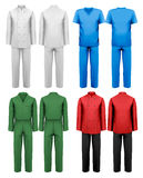 Set of white and colorful work clothes. Royalty Free Stock Photo