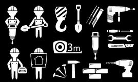 Set white construction industry objects Stock Photos
