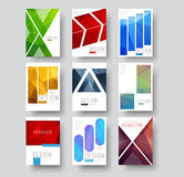 Set of white covers for reports, business, advertising and broch. Ures. Design flyers in a minimalist style with geometric shapes and polygonal abstract elements Stock Images