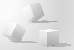 Set of white cubes in different projections. Geometric surfac.  Rotate the cube. Isolated objects on a white background. White cube. Vector illustrations Stock Images
