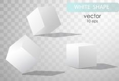 Set of white cubes in different projections. Geometric surfac. Rotate the cube. Isolated objects on transparent background. White cube. Vector illustrations Stock Images