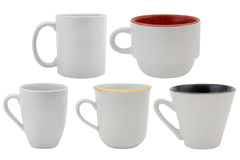 Set of white cups Stock Photo