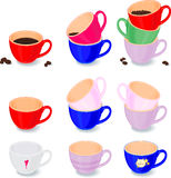 Set of white cups. For coffee and tea stock illustration