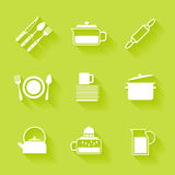 Set of white cutlery and dishes icons. Stock Images