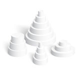 Set of white cylindrical pyramids on white background Stock Image