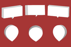 Set of white 3D chat boxes and pointers isolated on red backgrou Royalty Free Stock Photo