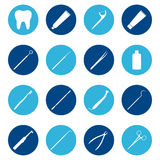 Set of white dental icons on color background, illustration Stock Photo
