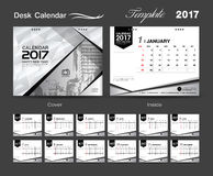 Set White Desk Calendar 2017 template design, cover Desk Calendar. Flyer design Stock Image