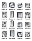 Set of white diamonds with rectangle cuts Royalty Free Stock Images