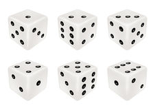 Set of a white dice three dimensions Royalty Free Stock Images