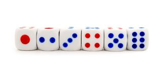 Set of white dices Stock Image