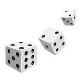 Set of white dices falling down. Royalty Free Stock Photos