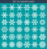 Set 36 white different snowflakes of handmade for design. Set 36 white different snowflakes of handwork for design. New Year's symbols. Snowflakes for design Royalty Free Stock Photo