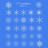 Set 27 white different snowflakes of handmade Stock Photo