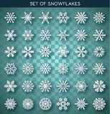 Set 36 white different snowflakes handmade with realistic shadow. Snowflake Flat. New Year's symbols. Snowflakes for design. Winter objects. Festive elements Royalty Free Stock Photos