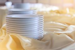 Set of white dishes on buffet table. Food concept Royalty Free Stock Image